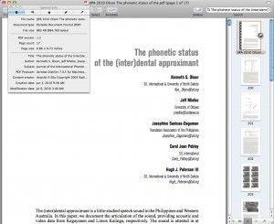 Using Preview on OS X to look at the embedded meta-data of a PDF from Cambridge Journals and the Journal of the International Phonetic Association