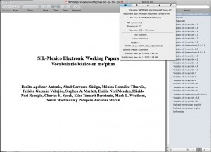 Using Preview on OS X to look at the embedded meta-data of a PDF prepared by SIL - Mexico Branch