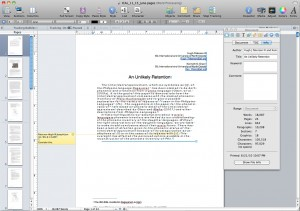 Pages Document Inspector showing where one can edit the metadata which will be passed to the PDF when Created using the Export option.