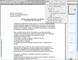 Using Preview on OS X to look at the embedded meta-data of a PDF prepared by an Individual using MS Word