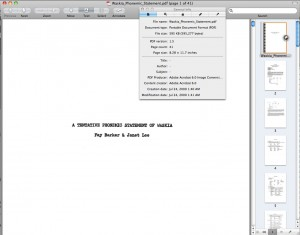 Using Preview on OS X to look at the embedded meta-data of a PDF prepared by SIL - Papua New Guinea