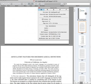 Using Preview on OS X to look at the embedded meta-data of a PDF from Project Muse and the journal Langauge