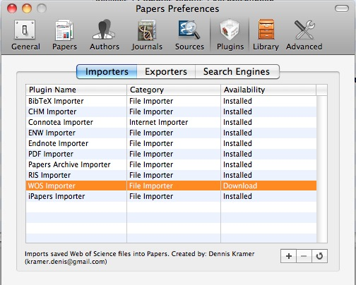 Papers1 Import plugin screen