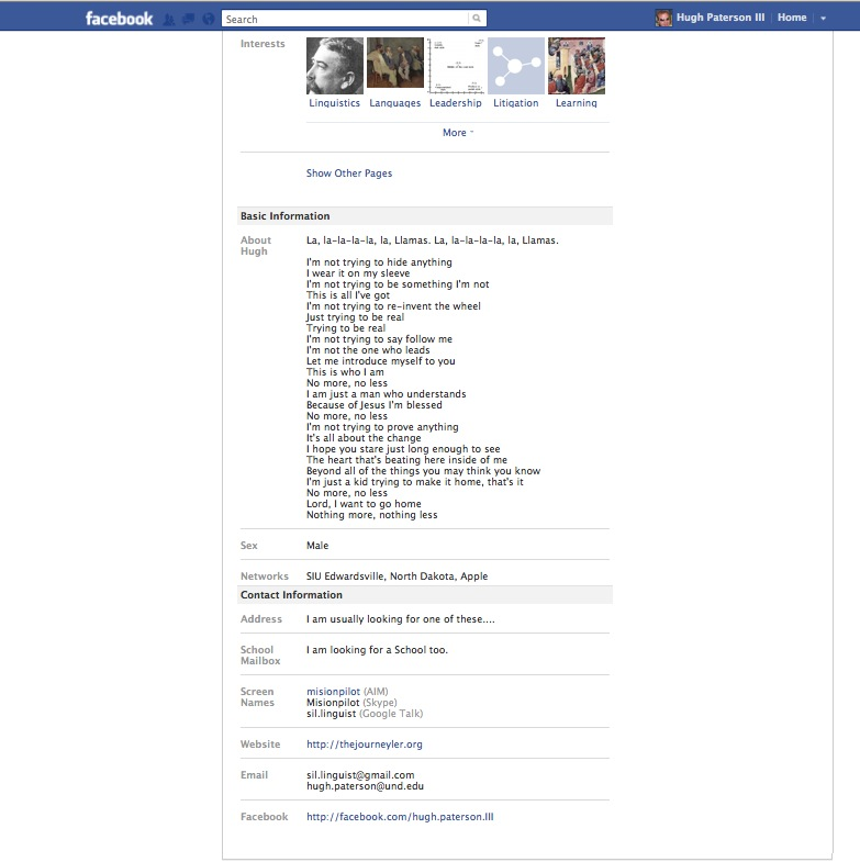 Facebook Profile Bottom