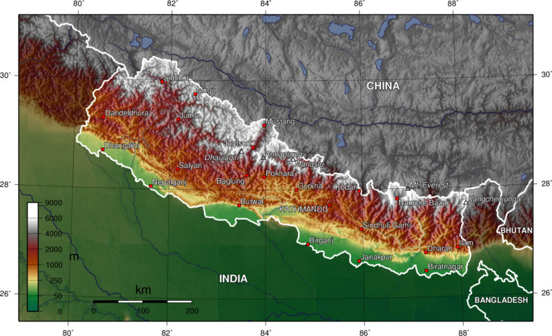 Topographical Map of Nepal