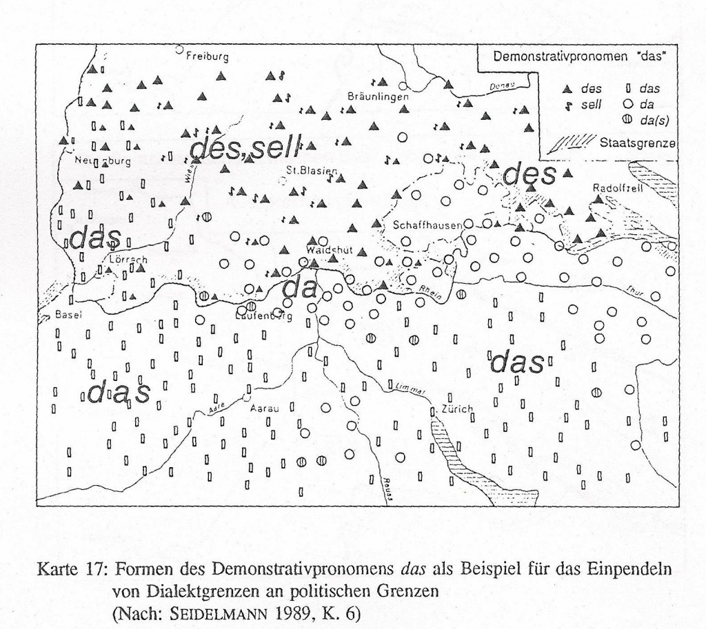 Mapping of German demonstrative pronoun 'das' in the Black Forest area
