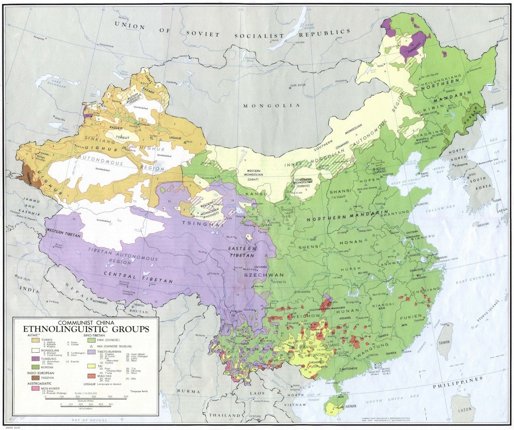 Ethnolinguistic Map from China in 1967
