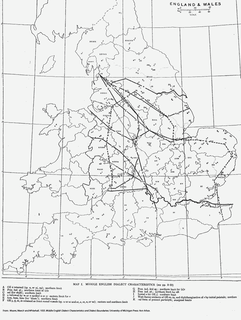 Map of Dialects in the UK during the time Middle English was spoken