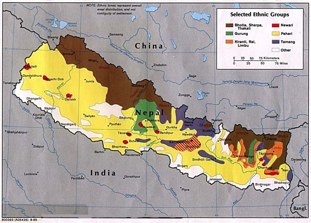 Map of Ethnic Groups in Nepal