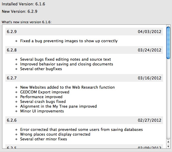 Example of a change log