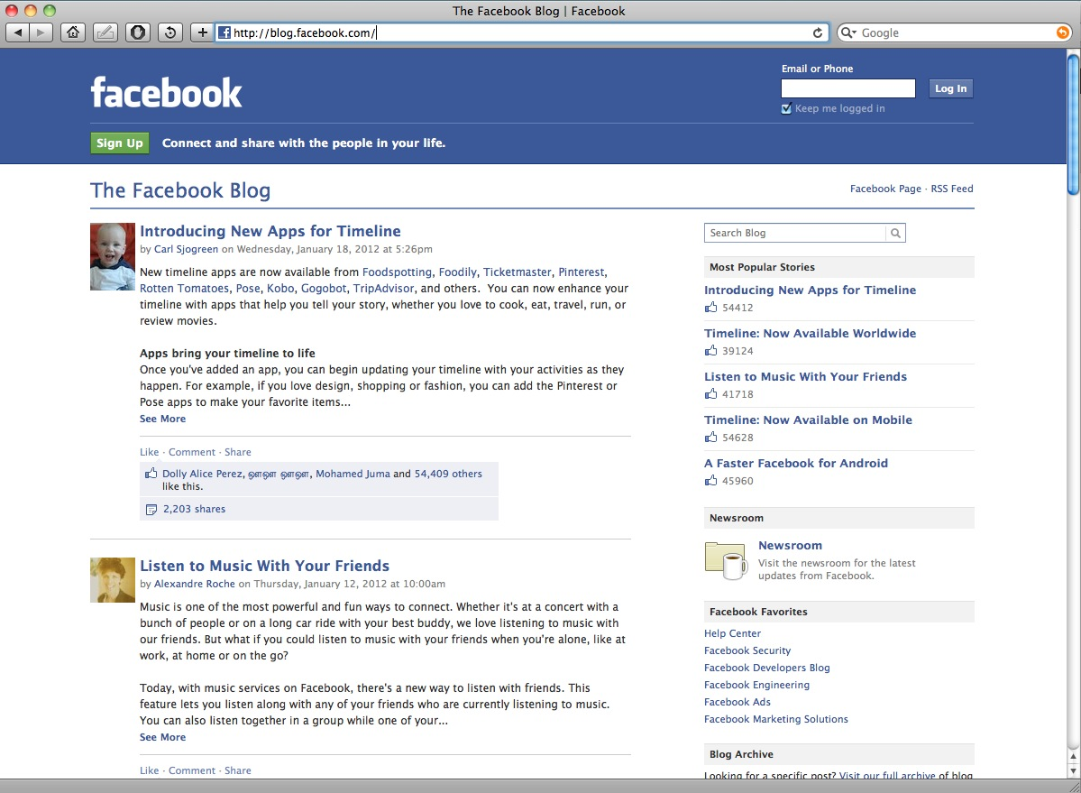 Facebook blog about the Facebook platform.