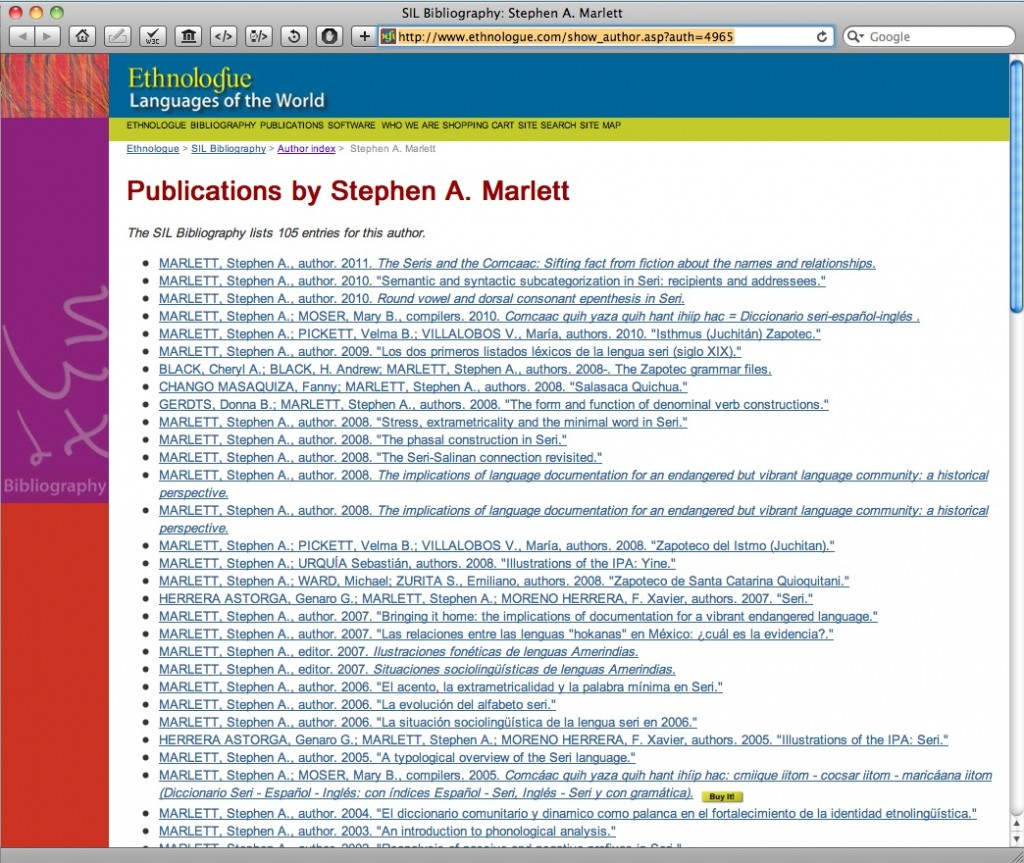 Listing of Steve Marlett's Publications in the SIL Bibliography
