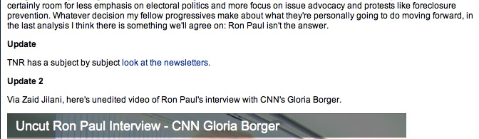 Ron Paul article update example