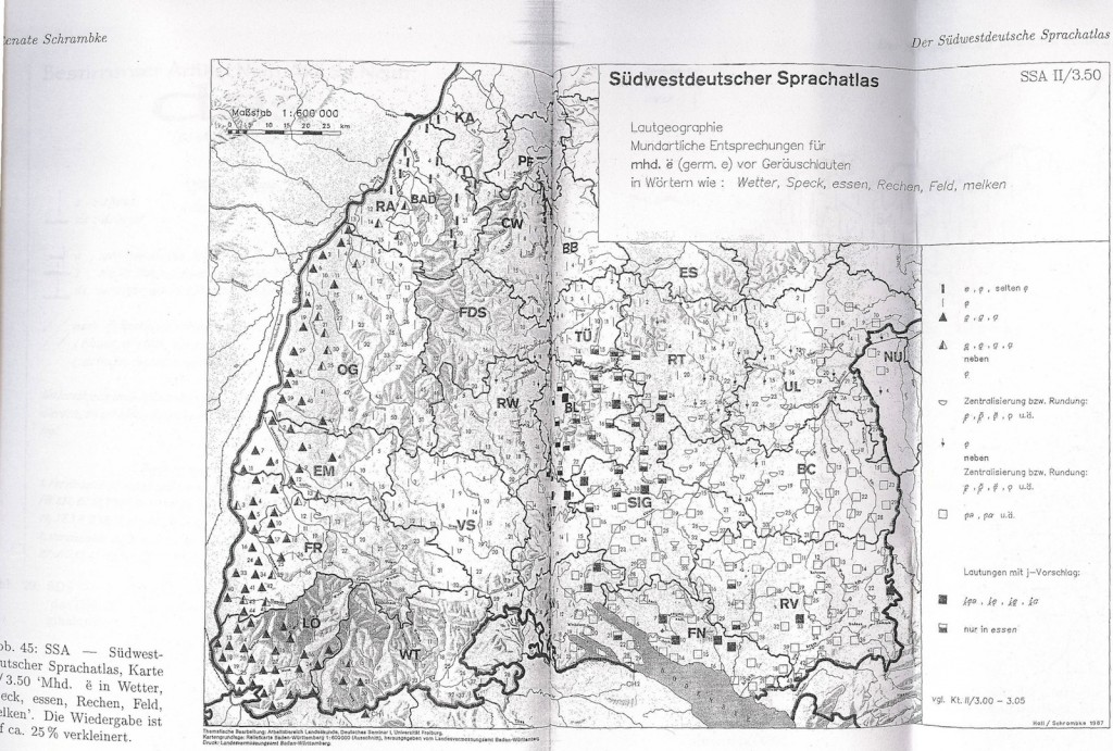 Map Showing Phonetic variation for the Black Forest Area