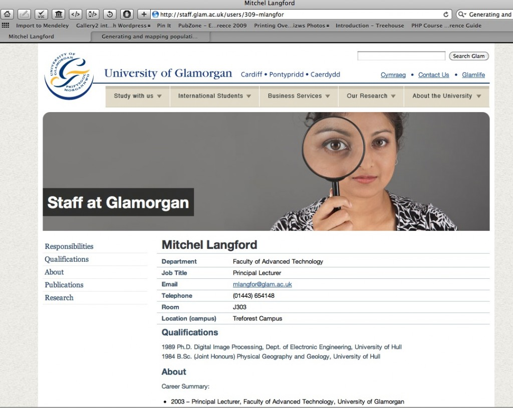 Mitchel Langford at the University of Glamoregan