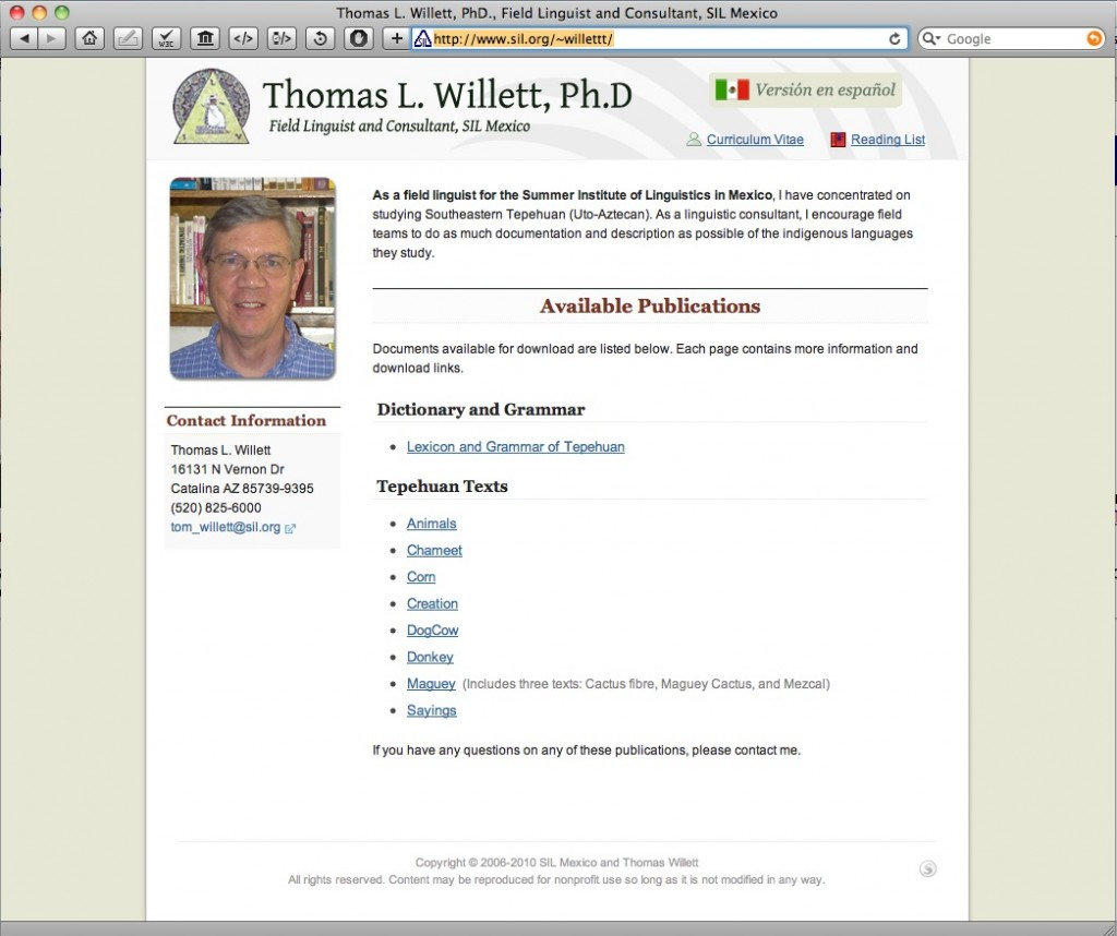 Tom Willett's Page on SIL.org