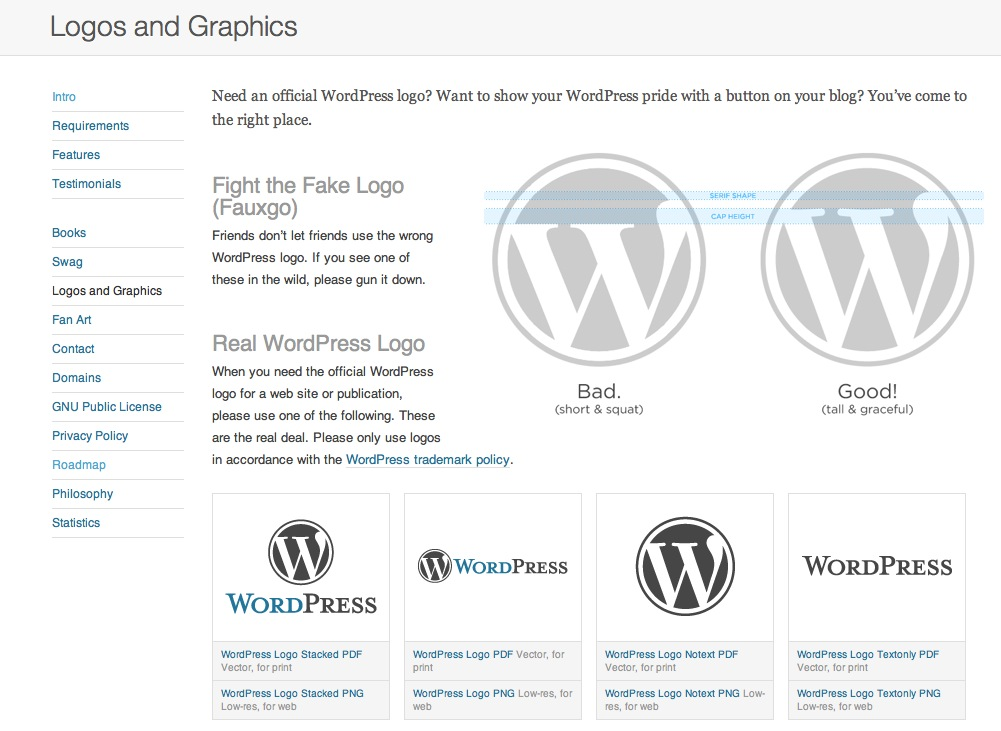 WordPress logo page