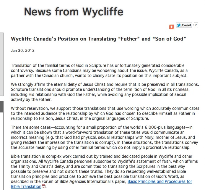 Wycliffe Canada has the date something was published.