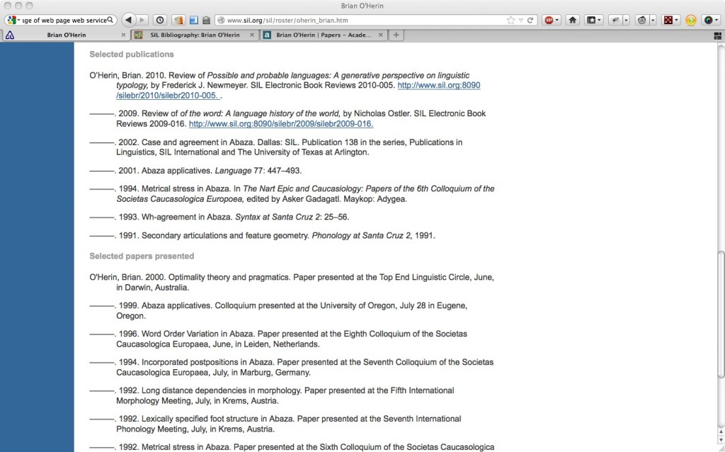 Brian O'Herin's CV section on publications and presentations on SIL.org