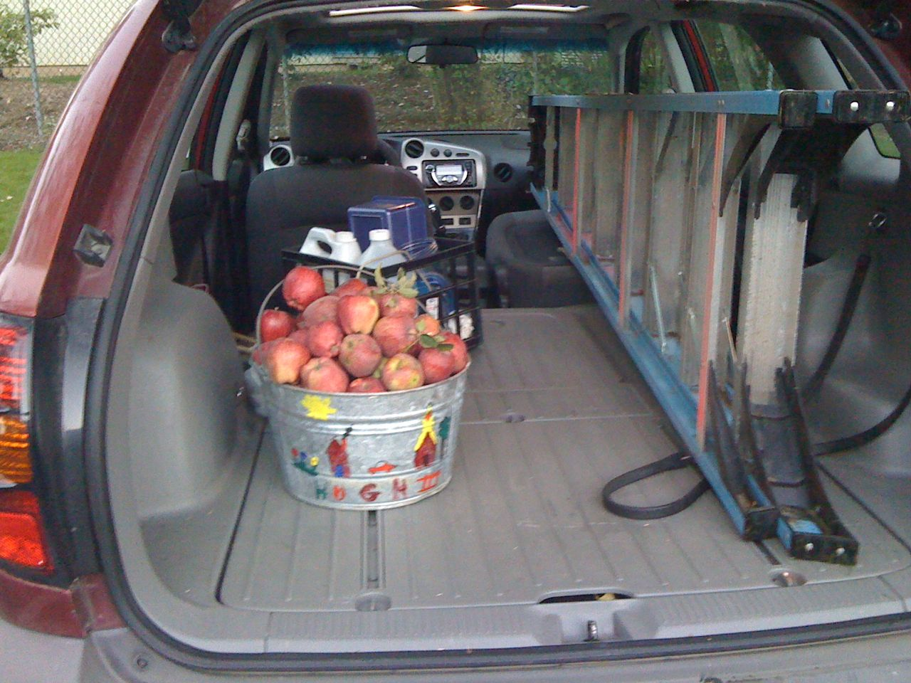 Bucket full of apples from church.