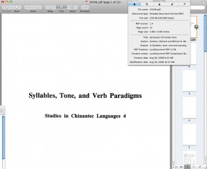 Using Preview on OS X to look at the embedded meta-data of a PDF of as it was Prepared by Academic Publishing