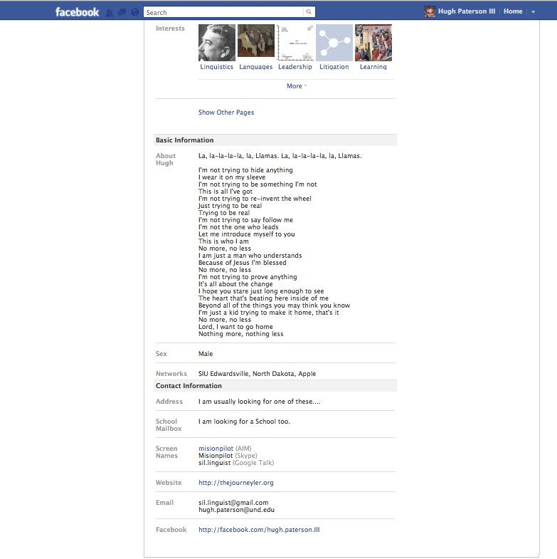 Facebook Profile Bottom