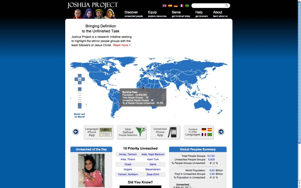 Joshua Project Front page with Map