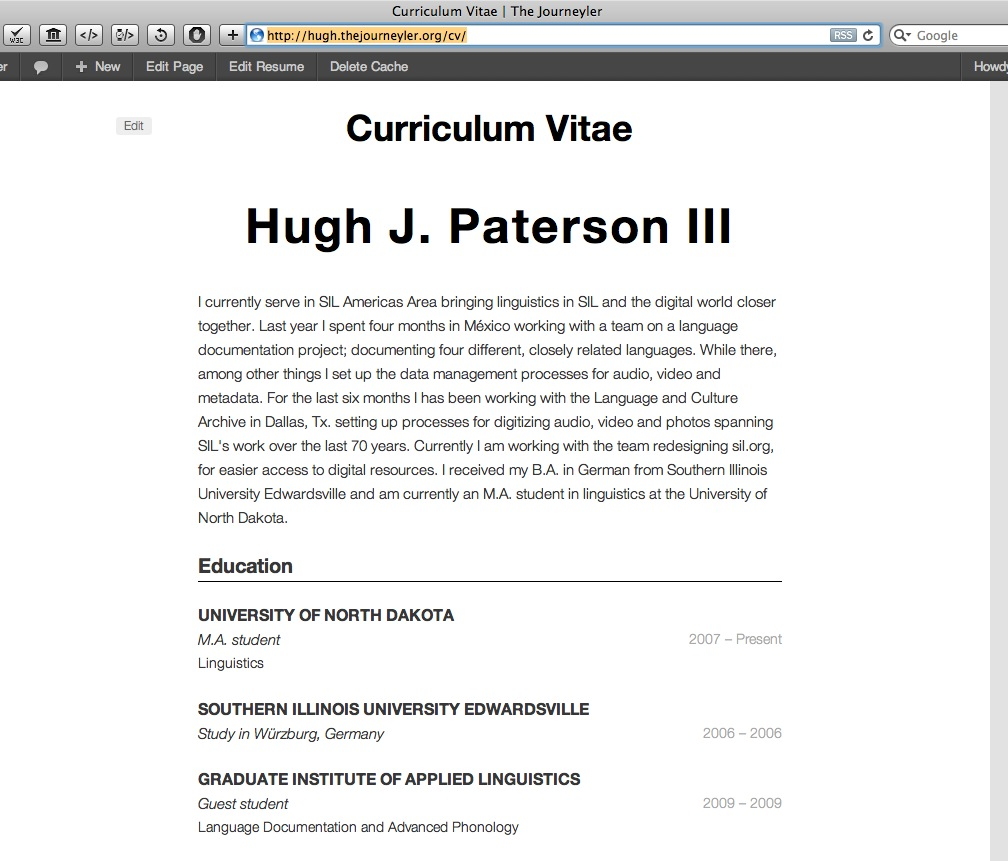 Hugh Paterson's Personally hosted CV