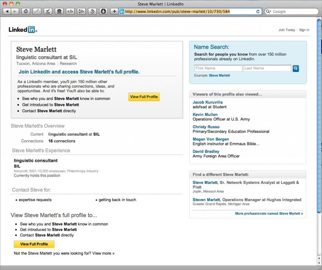 Steve Marlett's Linked In File