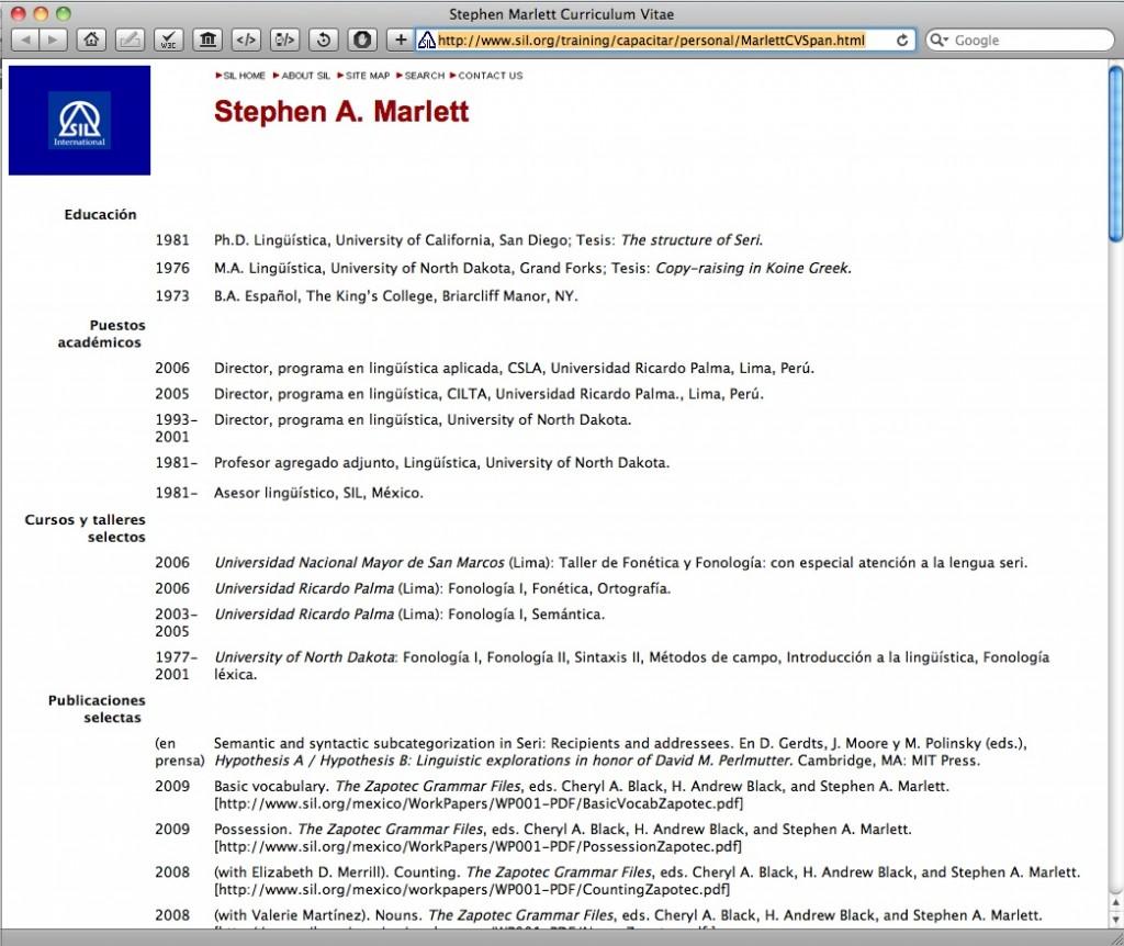 Steve Marlett's Profile on SIL.org's Spanish training area