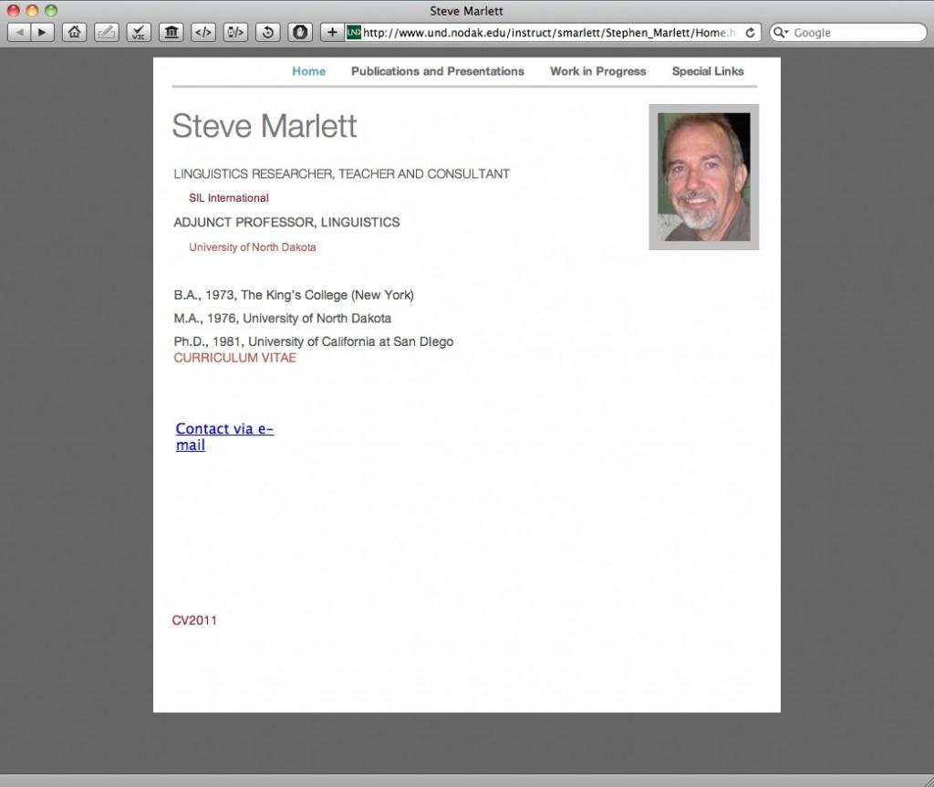 Steve Marlett's UND Instructor's Page
