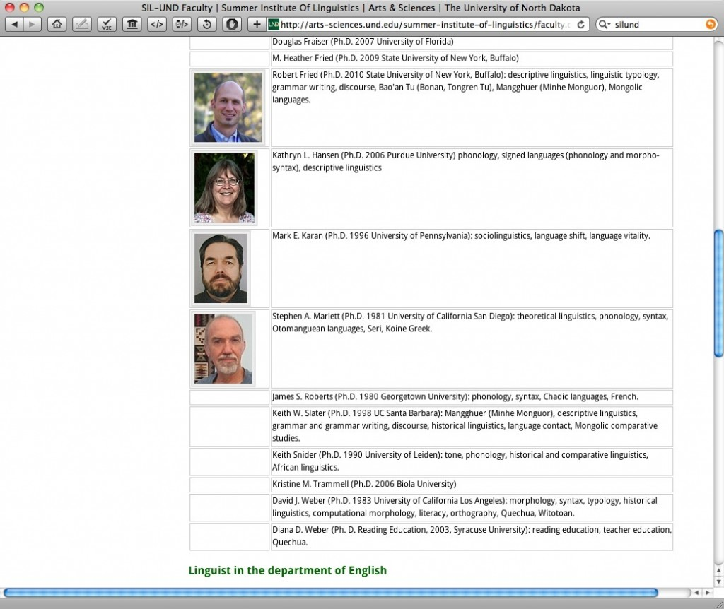 Steve Marlett's Listing on the staff list of SIL-UND