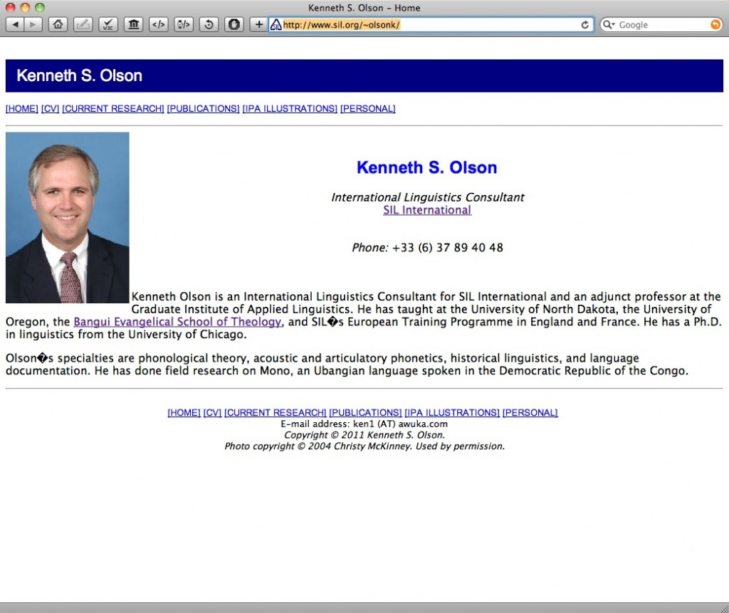 Ken Olson's Webpage on SIL.org