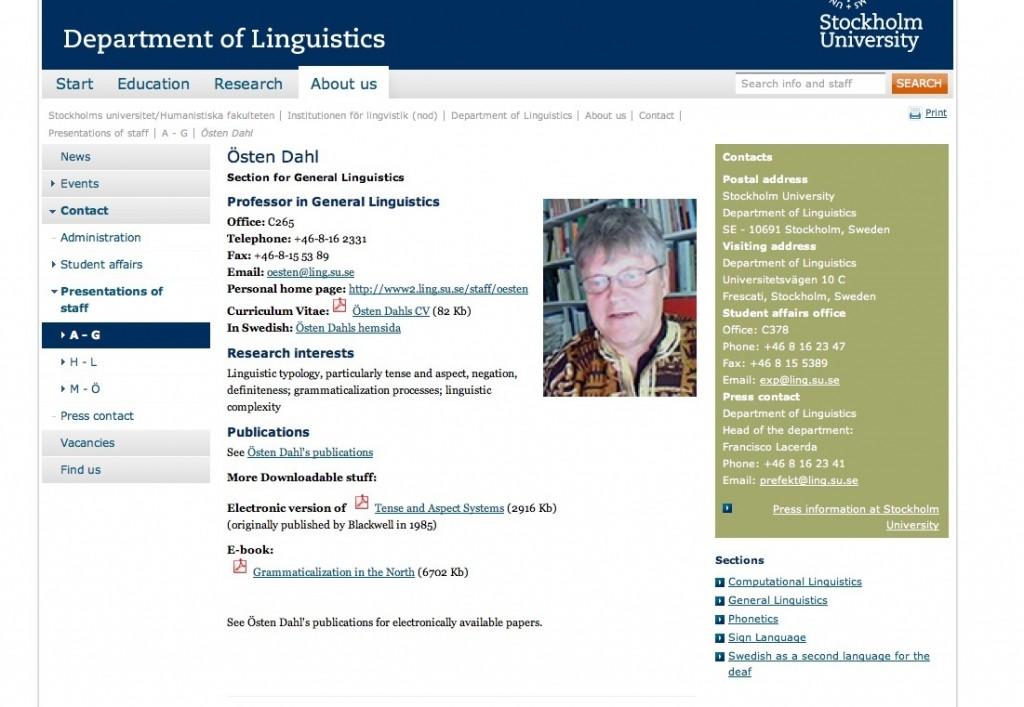 Östen Dahl's Stokholm University profile