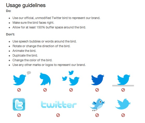 """""""dos"""" and """"don'ts"""" of using the Twitter logo"""