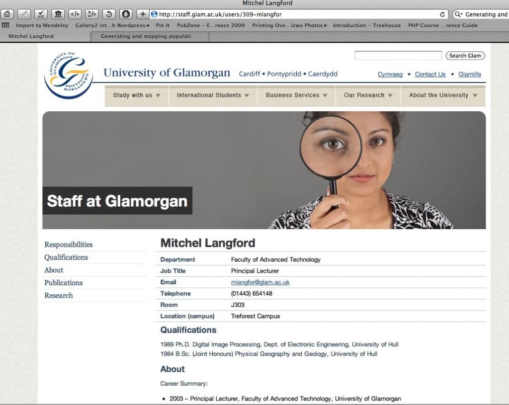Mitchel Langford at the University of Glamoregan