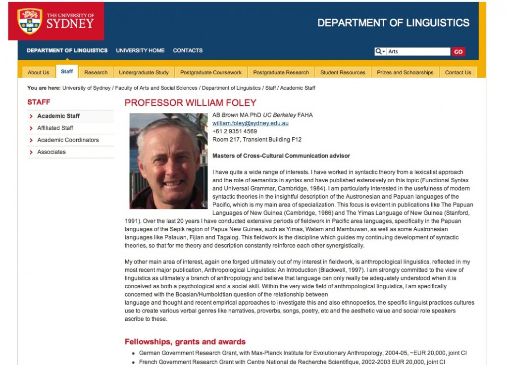 Professional Page of William Foley