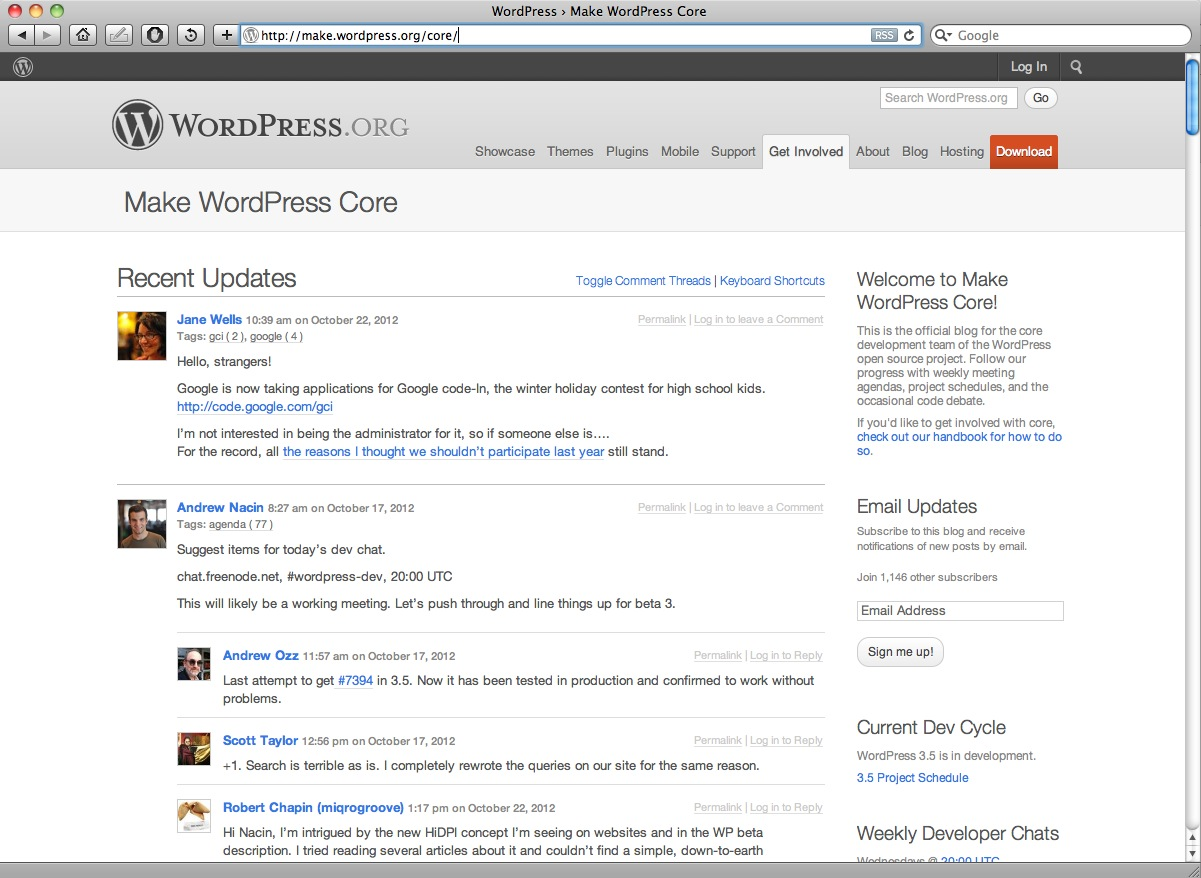 WordPress Core P2 Instance for engaging with interested parties.