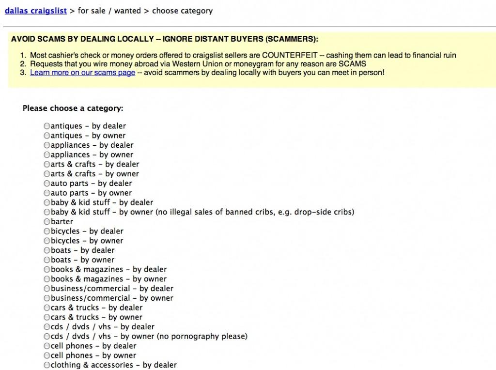List view on Craislist