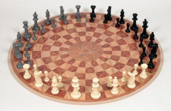 Three Man Chess on a Round Board