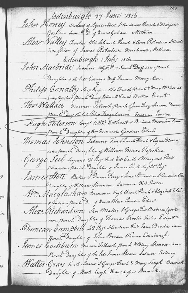 Parish Record of Hugh Paterson (1781)'s Marriage to Barbara Morison