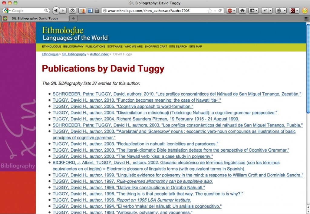David Tuggy in the SIL Bibliography