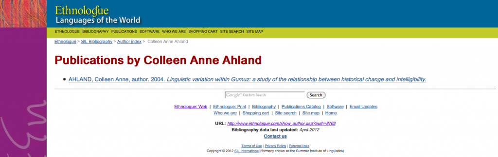 Colleen Ahland's entries in the SIL Bibliography 2012-08-10