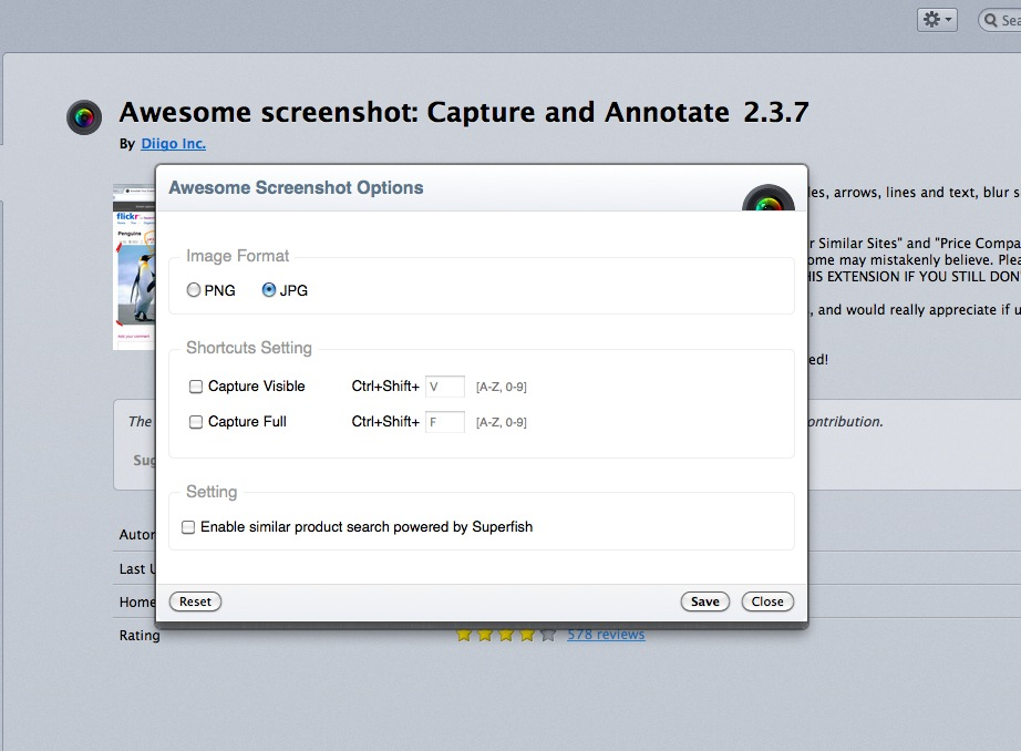 superfish.com and screen shot FF extension.
