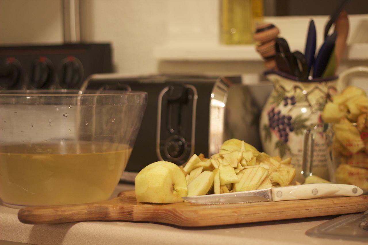 Chopping Apples.