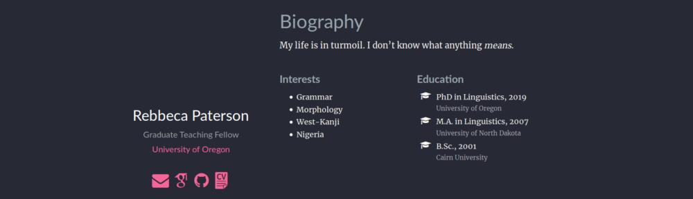 Screenshot of Becky's CV